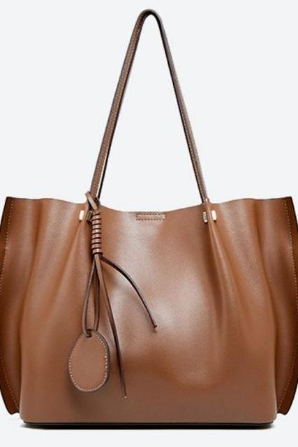 Rsslyn Pleated Side Solid Brown Leather Bags with Free Double C Brooch Luxury Handbag Totes