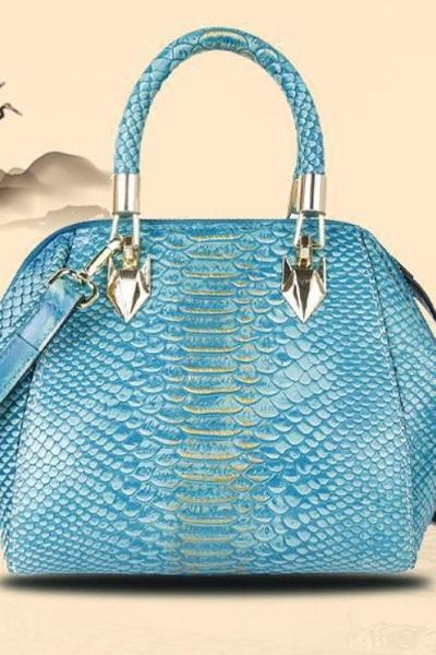 Rsslyn Embossed Snake Skin Blue Leather Bags with Free Brooch Leisure Bags for Women