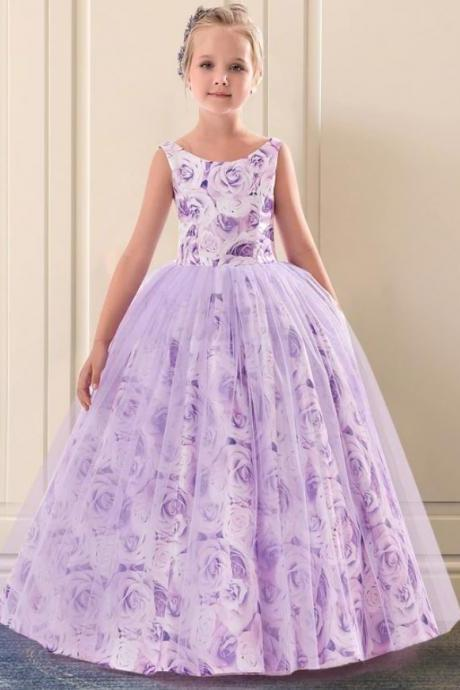 FREE TIARA Purple Dress for Girls Novelty Dress for Toddler Girls Photography Session Pretty Floor Length Lavander Dress