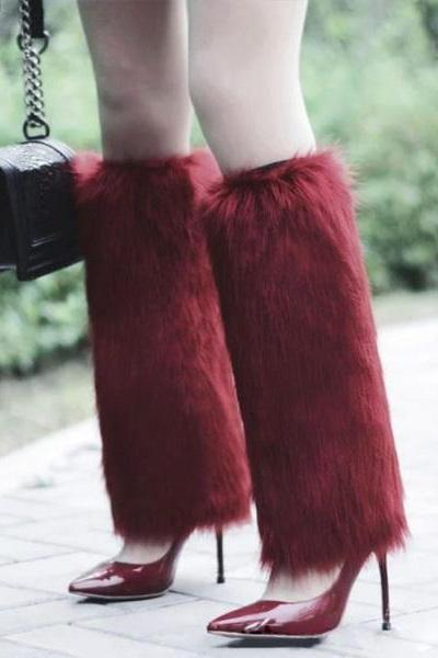 Rsslyn Burgundy Fur Leg Warmer