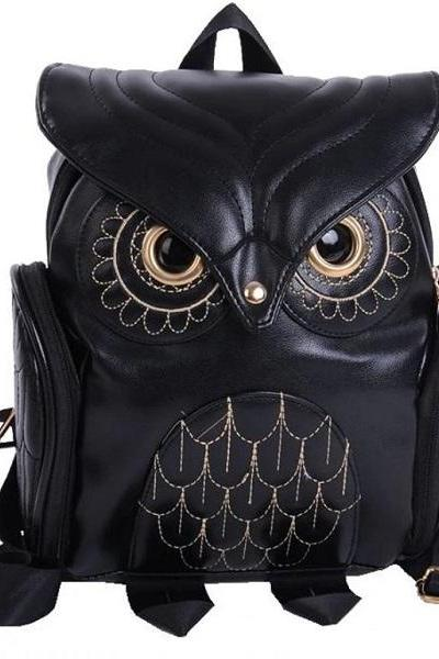 Rsslyn New Black Owl Backpacks for All Ages Leather Handbags for Women Black Haversack