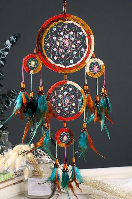 Beautiful Dream Catcher for Front Door Decor-Five Hoops Patio Decoration-Large Hoops of Native Americans Home Accents-One Tribe Apparel