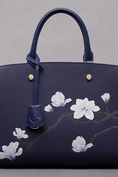 Luxury and Elegant Style Navy Blue Leather Tote Bags Durable Top Handle Handbags for Women Floral Grain