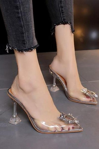 Rsslyn Clear Shoes for Women Transparent Skinny Heeled Shoes for Women Pointed Pump Shoes