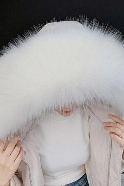 Rsslyn Puffer Hood Collar Winter Accessories for Women Faux Fur White Collar White Scarf for Women Jacket Accessory