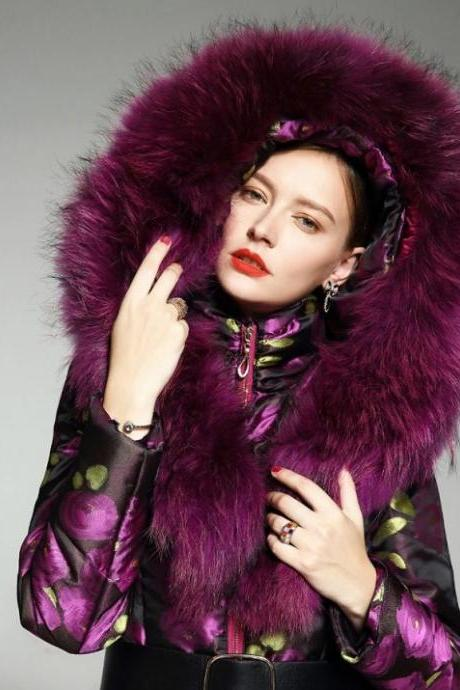 Rsslyn Warmer Parka with Free CC Brooch Alaskan Hooded Overcoats Purple Parkas for Women Nothing Beats This Parka