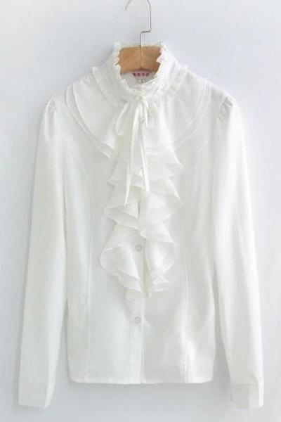 Rsslyn Ruffled Off White Blouses Ruffled Button Up T-Shirts-Ivory White Color Blouses