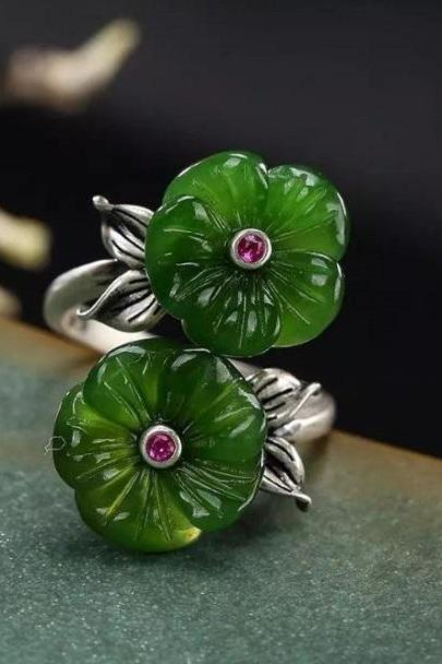 Rsslyn Inlaid Rings Natural Hetian Jade Double-Headed Flower Blossom RSS11-2272021 Wholesale Retro Jade Rings for Women