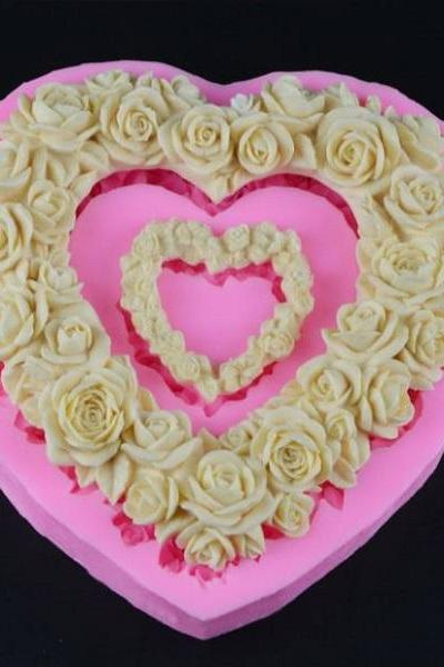 Rsslyn Pink Large Size Heart Rose Flower Silicone Mold RSS8-342021 Valentine Heart Mold Wedding Cake Decor Mold