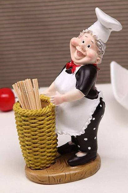 Rsslyn Decorative Toothpick Holder Chef RSS08-342021 Condiment Vintage Chef Collections