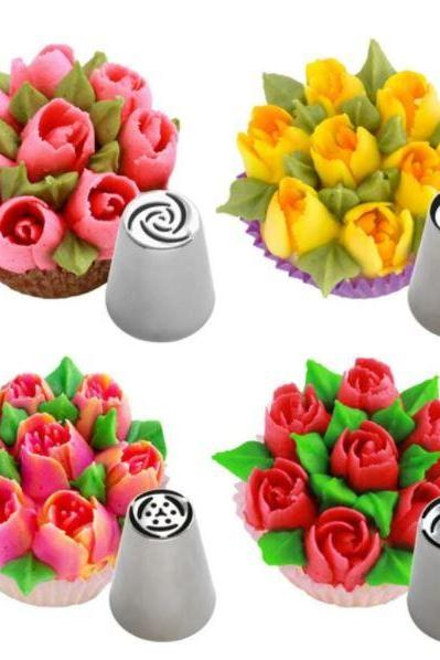 Rsslyn 4pcs Russian Tulip Icing Nozzles RSS10-342021 Birthday Cakes Baking Tools for Cup Cake Decoration