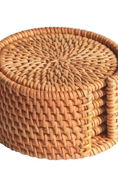 Rsslyn 7pcs Woven Rattan Coasters Vietnamese Style Kitchen Tools RSS12-352021 Coffee Mats Coasters for Drinks
