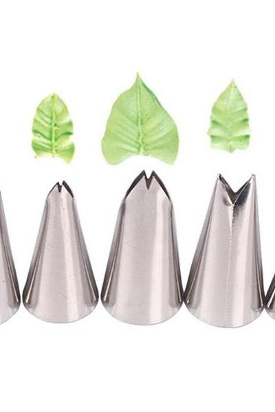 Rsslyn 5pcs Nozzles for Leaves RSS4-362021 Stainless Steel Baking Tools