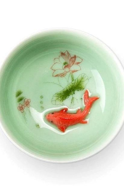 Rsslyn Tea Celadon Porcelain Zen with Carved Fish RSS13-372021 Small Green Tea Cups