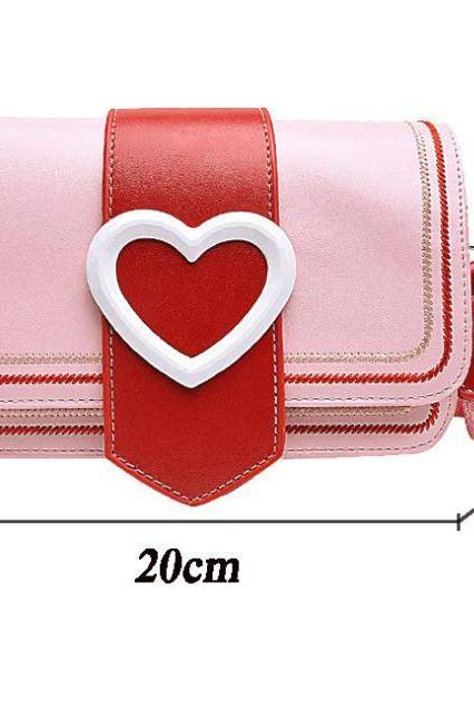 Perfect Pink Bags for Women-ALL SWEET HEART DESIGNS-Fashion Heart-shaped Design Women Shoulder Bags Wild Strap Purses-Pink Crossbody Messenger Bags