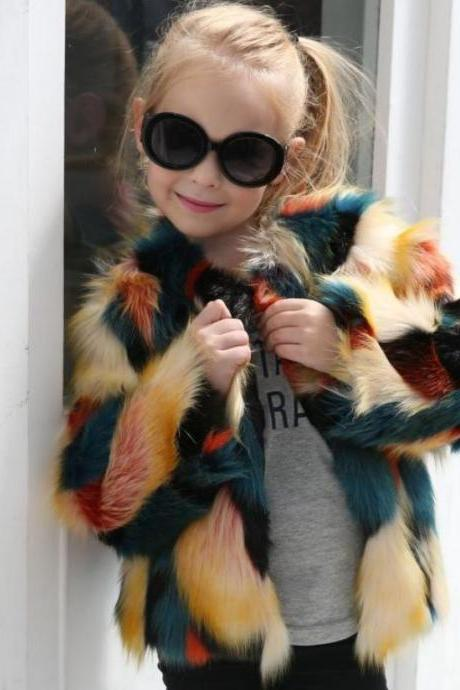 Multi-Colored Faux Fur Winter Jacket for Girls Fashion Coats for Girls Winter Jackets Soft Fur