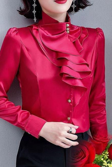 Rsslyn High-Quality Women's Red Fashion Blouses Ruffled Blouse for Women