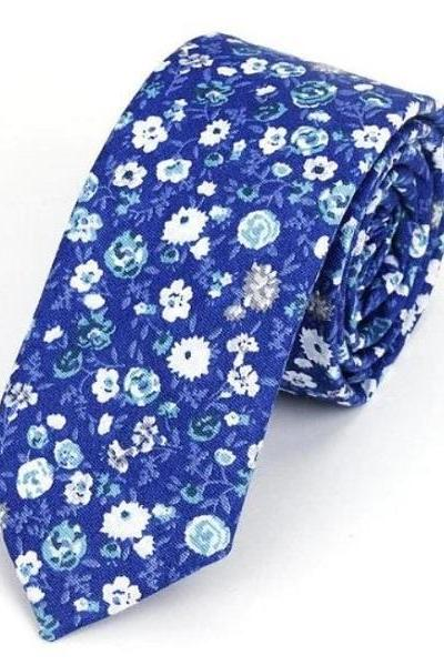 Rsslyn Brand New Men's Floral Neck Ties Blue Neckties for Men