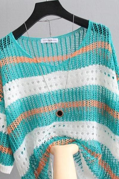 Rsslyn Knitted Blouses Beach Cover Turquoise Blue Knitted Tops for Women