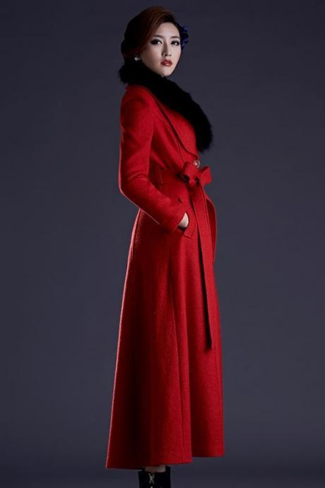 Red Coats Removable Faux Fur Collar Red Trench Coats for Women Ultra Long Trench Coats Wool Overcoats