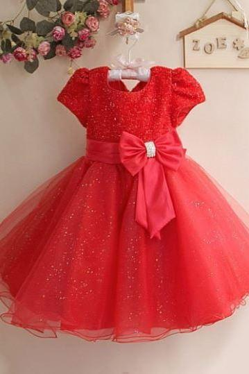 Red Flower Girls Dress Pretty Tutu Red Dress for Girls Puff Sleeves with FREE Red Bow Headband
