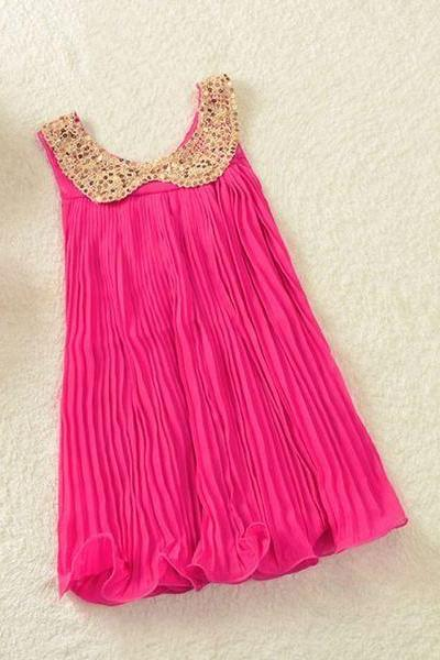 Pink Tutu Dress Hot Pink Casual Whimsical Dress for Girls 4T-5T Chiffon Made Summer Dress for Girls Hot Pink Dresses