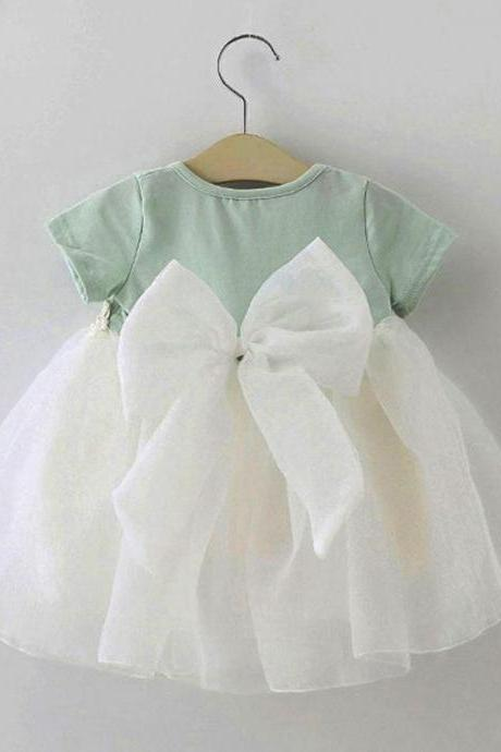 Bow Knot Mint Green Baby Dress Cotton Baby Shower Gift Granddaughter Dress Newborn Dresses