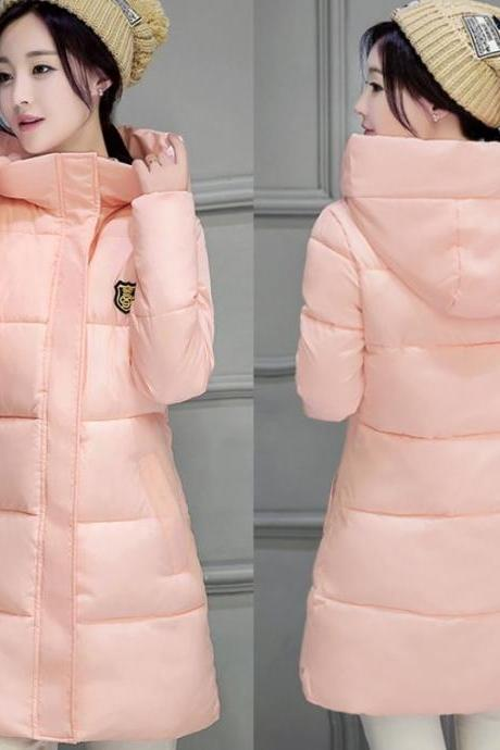 Peach Winter Coats Cotton Duck Down Hooded Skiing Parkas Pink Parkas for Women with Free Hat