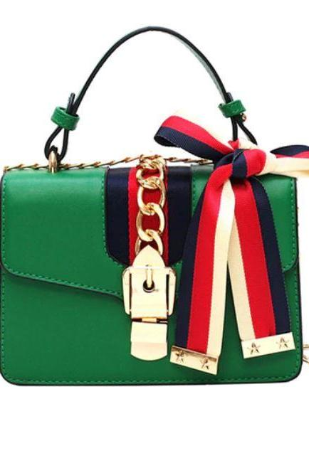 Green Handbags for Women with Bow Knot Golden Stars Green Mini Travel Bags for Women