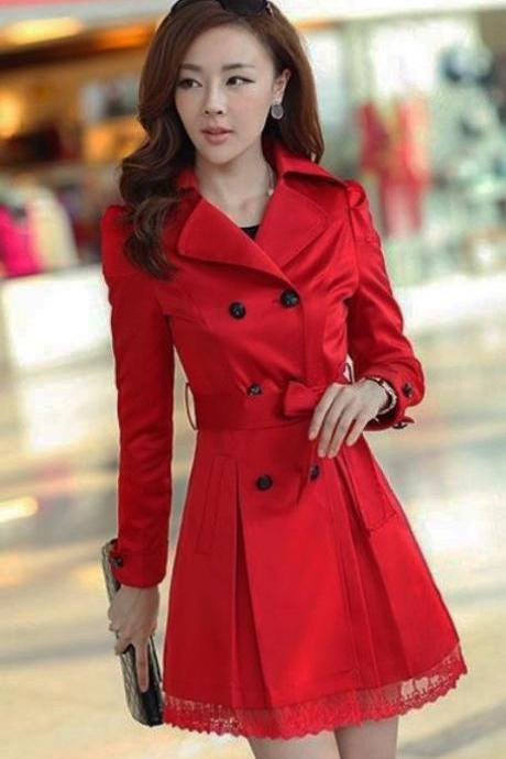 Red Trench Coats Buckles Medium Size Red Dress for Women with Lace Hem