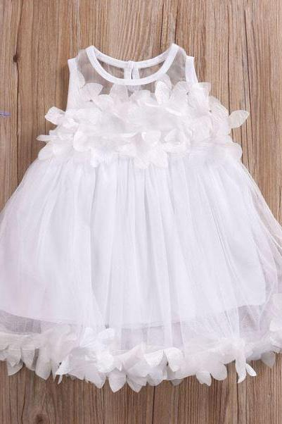 Beautiful Christening Dress for 4T Girls White Tutu Dress for Girls with Matching White Headband for Toddler Girls