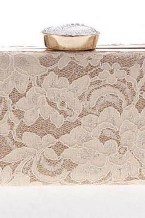 Pretty Evening Bags and Purses for Women Lacy Box Lacy Purse Lacy Clutch for Wedding-Phone Carrier-Make Up Handbags