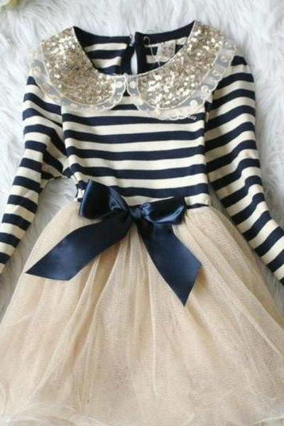 Pretty Navy Blue Dress for Girls with Free Matching Bow Headband for Little Girls Golden Collar Stretchable Cotton Glittered Ivory Tulle Girls Costume Dress