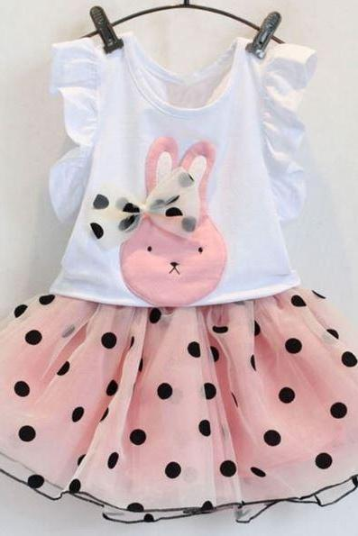 2 pcs/set Girls Matching Set Clothes Pink Tulle Skirt for Girls and Short Sleeves White Tees Polka Dots Skirts