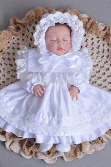 Newborn Girls White Baby Dress with White Bonnet Ready to Ship