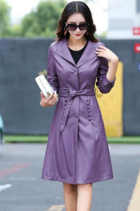 Purple Leather Coats Purple Trench Coats Sizes M-4XL Plus Size Purple Leather Jackets, Purple Winter Trench Coats