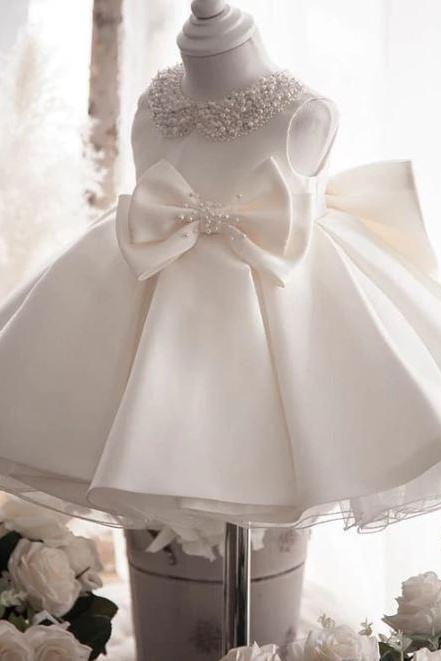Pretty Baby Dresses with Bows Wedding Gowns White Dress for Newborn Girls FREE White Headband