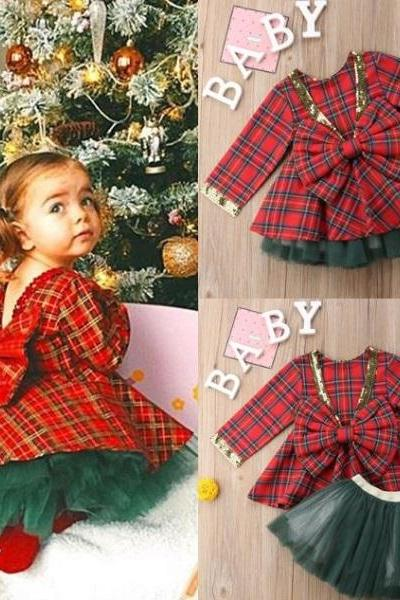 Rsslyn 2pcs/SET Christmas Dress for Baby Girls with Big Bow Red Plaid Holiday Photography Props Kids Clothing