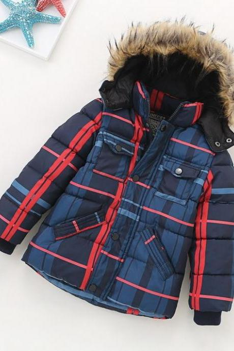 Blue Jacket for Boys Winter Jacket Boys Coats Faux Fur Hooded Checkered Buckaroo Winter Coats