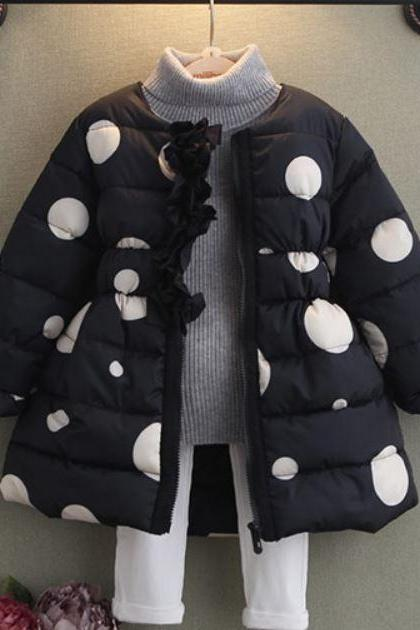Black Parka for Girls Polka Dots Thick and Warm Black Coats