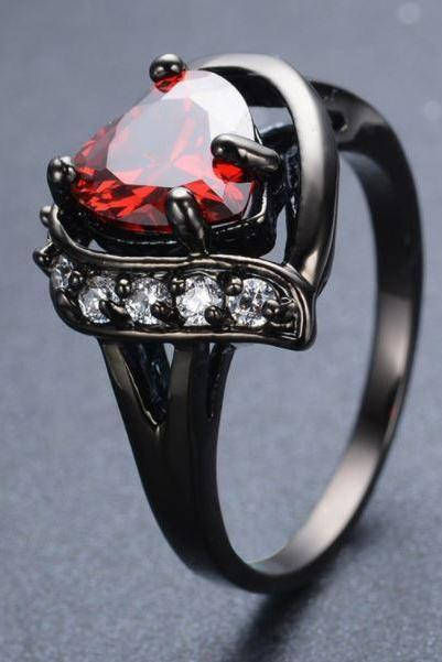 Black Ring Size 8 Big Heart Ring Crystal Black Gold Filled Cubic Zircon Red Heart Shape Rings