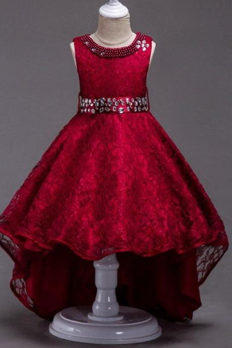 Ready to ship Teenage Girls Red Sleeveless Trailing Dress Red Pageant Dress