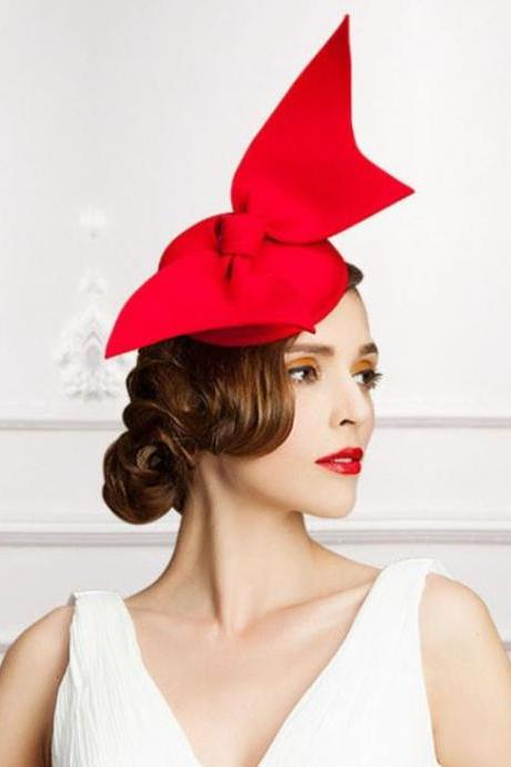Tall Red Fascinators Elegant Hats for Women European Fashion Women Pillbox Fascinators Red Lady Accessories