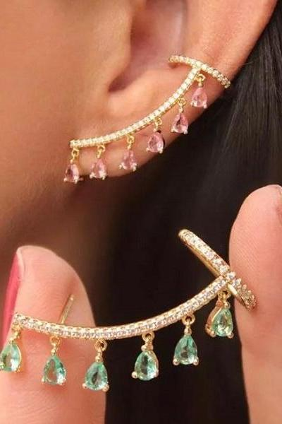 Rsslyn New Ear Cuff with Hanging Crystals New Trendy Earrings Pink Ear Cuffs