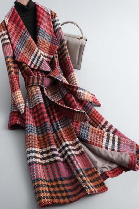 Rsslyn Plaid Trench Coats for Women Free Designer Brooch for Women Checkered Long Overcoats