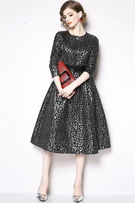 Black Dresses for Women New Pattern Knee Length Long Sleeve Black Dress with Boat Neckline