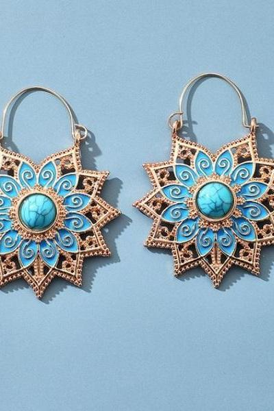 Rsslyn Mandala Floral Earrings Spiral Pattern Turquoise Blue Color Carved Spiral Earrings