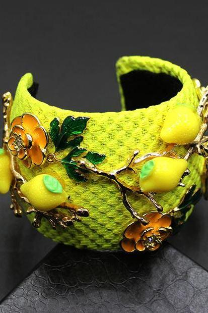 Yellow Bracelets-Open Wide Bracelets-Fashion Yellow Lemon Bracelets