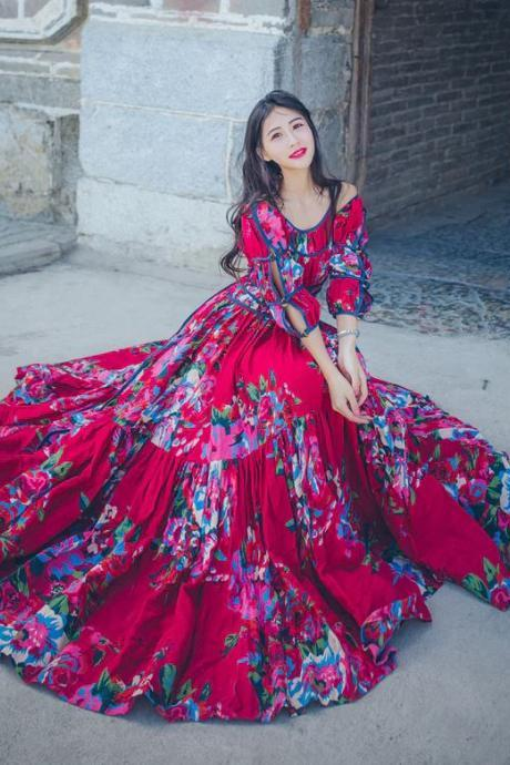 Beautiful Dresses for Women Vintage Ruffled Red Maxi Dress For Women