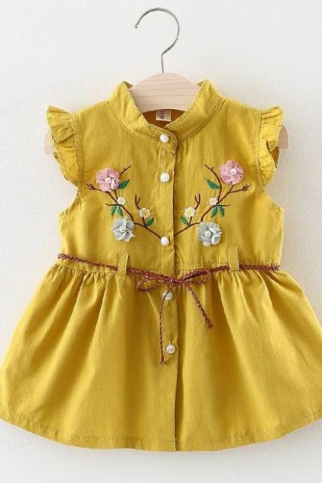 fbbf67c299 Embroidery Laced Patchwork Yellow Dress Linen Dress for Girls Yellow Summer  Dress with Belt